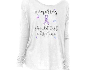Long Sleeve Alzheimer's Awareness, dementia awareness, loved one shirt, purple ribbon
