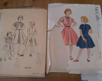 50s McCall's pattern 9625 Girls dress with sewn-in bolero jacket Size 12
