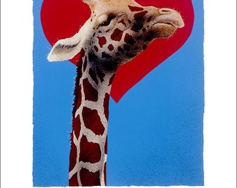 Will Bullas / art print / high on love... / humor / animals / giraffe