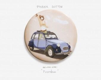 "Freedom - Pinback Button Badge - 2.25"" (5.5cm)"
