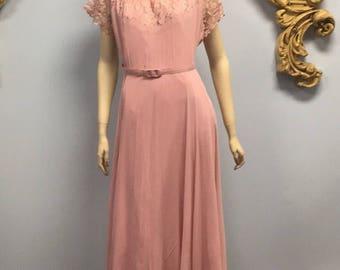 Vintage 1950's pink chiffon party dress prom bridesmaid