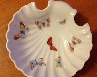 Vintage Limoges France Scalloped Butterfly Dish 5""