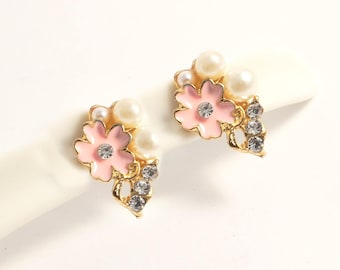 Natural Cherry Blossoms Gold Brass Pearl silver stud earrings/Elegant simple dainty diamond ear studs/everyday post earrings(SE045)