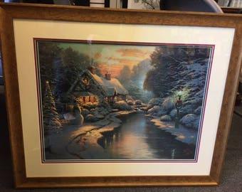 "Kinkade ""Christmas Evening"" - Framed"