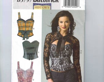 Misses Sewing Pattern Butterick B5797 5797 Making History Corset Sash Shrug Bustier Steampunk Victorian Size 6-14 or 14-22 UNCUT