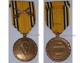 Belgium WW2 Military Medal  Commemorative Service Combatants Sword Citation Decoration War 1940 1945 Belgian Award
