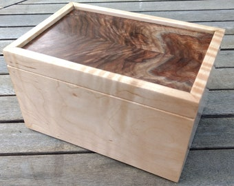 Handmade Tiger Maple and Walnut Keepsake Box With a Bookmatched Grain Pattern