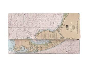 MA: Cape Cod, MA Nautical Chart Clutch, Map Clutch Bag, Map Purse