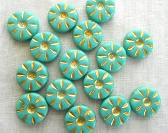 Five Czech pressed glass opaque Aqua Blue & Gold, Turquoise daisy flower beads, 12mm C5705