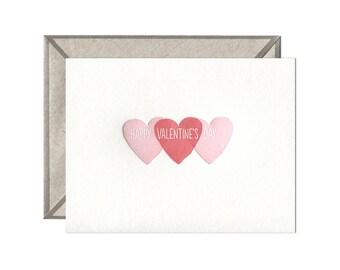 Three Hearts Valentine letterpress card - single