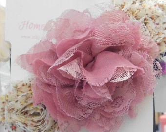 Dusty Rose and Floral Print Flower Headband