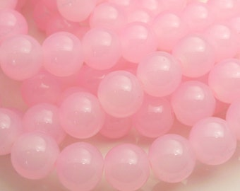10mm Cotton Candy Pink Round Glass Beads - Smooth, Shiny Beads - 20pcs - BN31