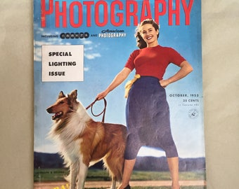 Bettie Page Photo, Bettie Page Photography Magazine, Vintage 50's Photo, Popular Photography October 1953, Vintage Ads, Bettie Page Pinup