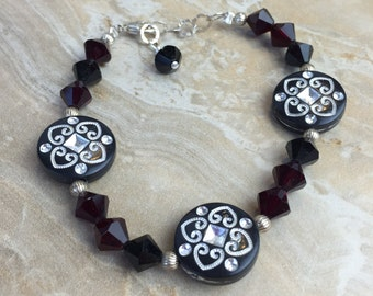 Swarovski Crystal, Sterling Silver and Resin Bracelet - FREE SHIPPING