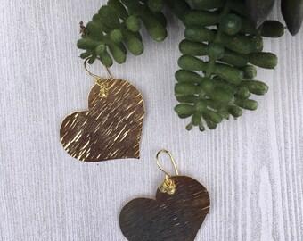 Heart earrings, gold-plated heart earrings.