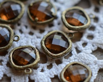 4 - Square Jewel Charms SMOKED TOPAZ Drop Gem Jewels Square 12mm Brown (AX022)
