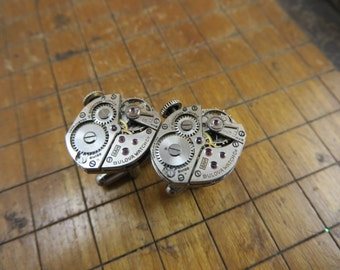 Bulova 6AH Watch Movement Cufflinks. Great for Fathers Day, Anniversary, Groomsmen or Just Because.  #316