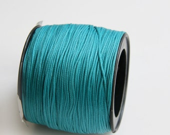 100 yards Turquoise Polyester Thread, Blue Waxed Cord, Macrame Cord, Waxed Polyester Thread, Blue Waxed Polyester Cord (0.8mm) S 40 113