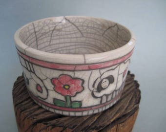 Vintage Raku Bowl with Lamb Sheep Flowers and Hearts