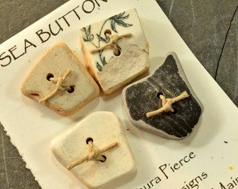 Pottery party- a set of four  authentic  Maine sea / beach pottery buttons eco friendly embellishment for sweaters scarves and purses