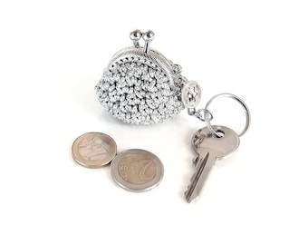 keychain with handmade tiny crochet silver coin purse , tiny kiss lock coin purse with keychain, keychain, keyring, gift for her