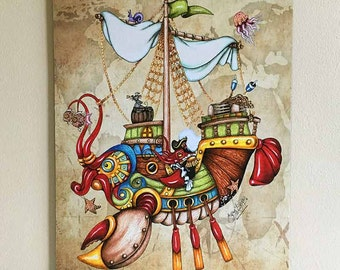 Fantasy Lobster Boat Canvas Print Wall Décor. Illustrated 11 x 14 steampunk, character ship art poster, wall décor for home or boat.