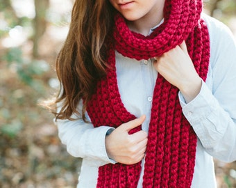 Chunky Textured Knit Scarf Open Ended Ribbed// The JAMES