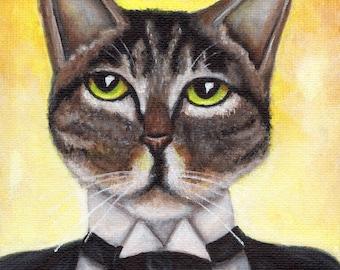 Great Gatsby Cat in Tuxedo Portrait 5x7 Fine Art Print