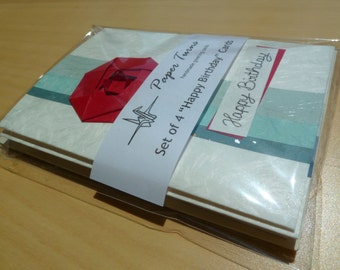 Birthday card set (4 cards), handmade with origami flowers, Japanese paper and fibered card stock