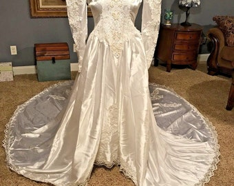 Vintage White Wedding Gown Long Puffy Sleeves Train Beaded Big Bow Back Zipper Lots of Lace