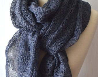 Navy Linen Shawl Knitted Summer Scarf Natural Wrap in Dark Blue Grey