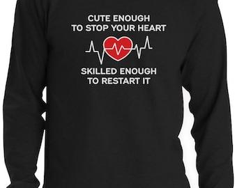 Restart Your Heart Funny Gift For Nurse Long Sleeve T-Shirt