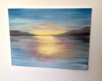 pastel lake sunset