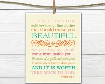 Bible Verse Christian Art Print 1 Peter 3:3-4 Beauty 11x14 PDF Instant  Download