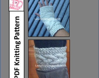 Braided Cable Boot Cuffs and Wrist Warmers knit in chunky yarn - PDF KNITTING PATTERN