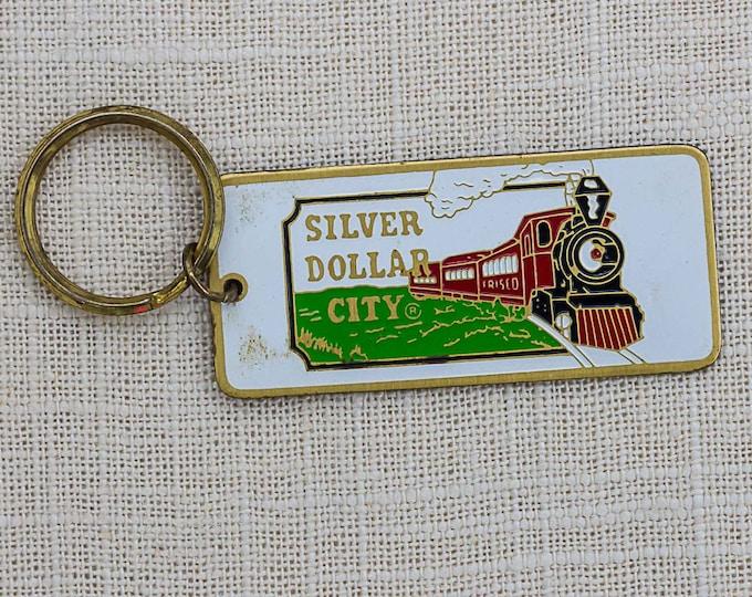 Vintage Silver Dollar City Keychain Branson Missouri Train Theme Park Key FOB Brass Key Chain 7FF