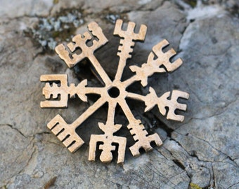 VEGVISIR Bronze Pendant for Protection Vegvísir Viking Compass Amulet Talisman Necklace Runes Iceland Icelandic Norse Pagan Vikings Norse
