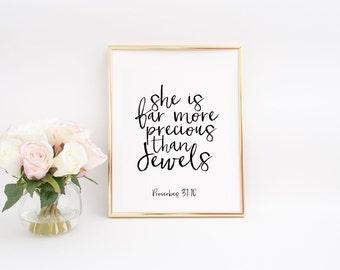 Bible verse Prints She Is Far More Precious Than Jewels Printable Art Nursery Wall Art Baby Girl Gift Proverbs 31:10 Christian Wall Art
