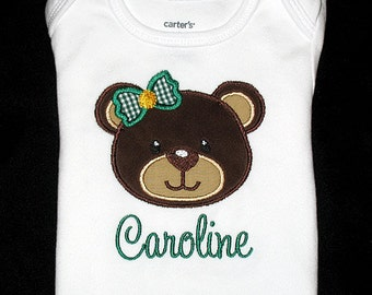Custom Personalized Applique Girl BEAR with BOW and Name or Words Bodysuit or Shirt - Brown, Tan, Green, and Yellow Gold
