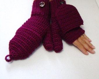 Convert fingerless etsy boysenberry convertible fingerless mittens crochet glittens texting gloves flip top mittens fingerless dt1010fo
