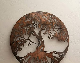 36 Round Tree of Life Metal Wall Art Circle Tree of Life