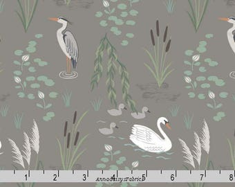 Egret and Swan Fabric, Lewis & Irene Down by the River A220 3 on Pebble, Egret Quilt Fabric, Heron, Wildlife Fabric, Birds, Cotton Yardage