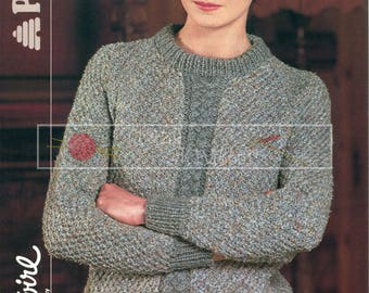 Girl's and Lady's Cable Panel Sweater 24-40in Patons 8031 Vintage Knitting Pattern PDF instant download