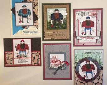 Handmade Lumberjack Cards