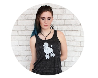 Ladies Flowy Tank Top With French Poodle, Hand screenprinted, Black Marble, Dog Lover, Family Pet, Summer Clothing, Women's Tank Top