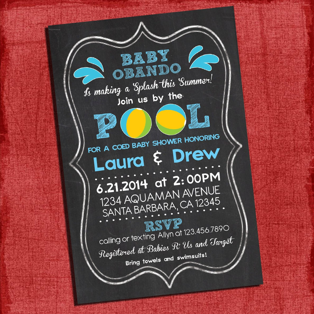 Printable Pool Party Coed Baby Shower Chalkboard Style 4x6 or