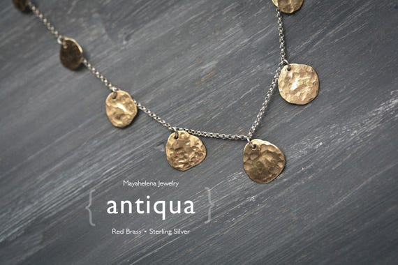 Antiqua - Graduated Brass Coins Sterling Silver Necklace