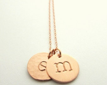 Gold Letter Necklace | 14K Rose Gold Filled Initial Necklace | Rose Gold | Letter Charms | Double Letter Necklace by E. Ria Designs