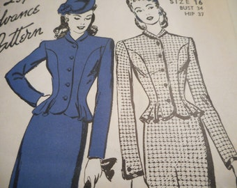 Vintage 1940's Advance Jacket and Skirt Sewing Pattern Size 16 Bust 34