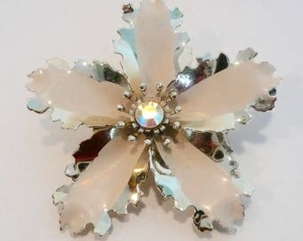 Large Vintage Floral Gold-Tone Metal Brooch With Rhinestone Center